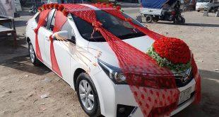 صورة احدث صيحات فى عالم تزين السيارات للعروسين,تزيين السيارات من الخارج